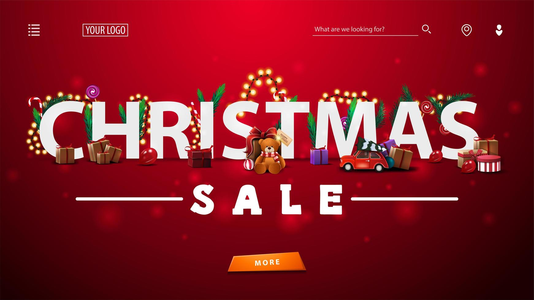Christmas sale, red discount banner with 3D white great headline decorated with presents, Christmas tree branches, candies and garlands, large offer and button. vector