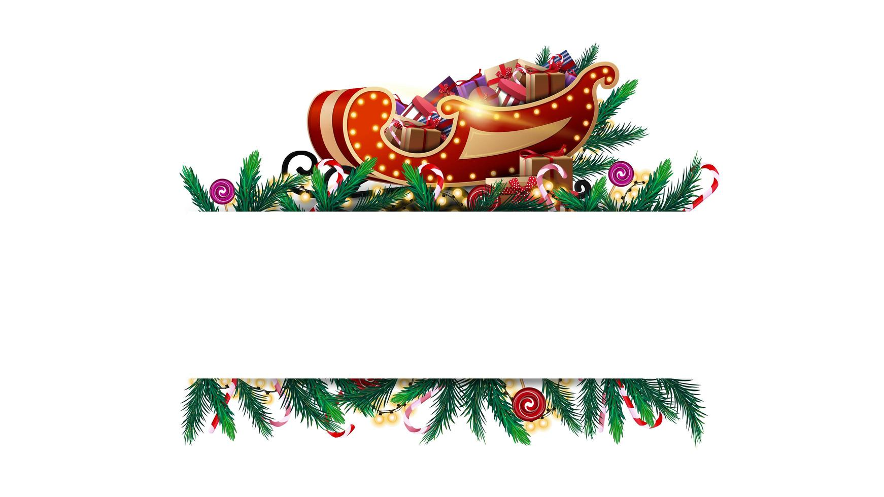 Christmas white blank template with frame of Christmas tree branches, candies and garlands. vector
