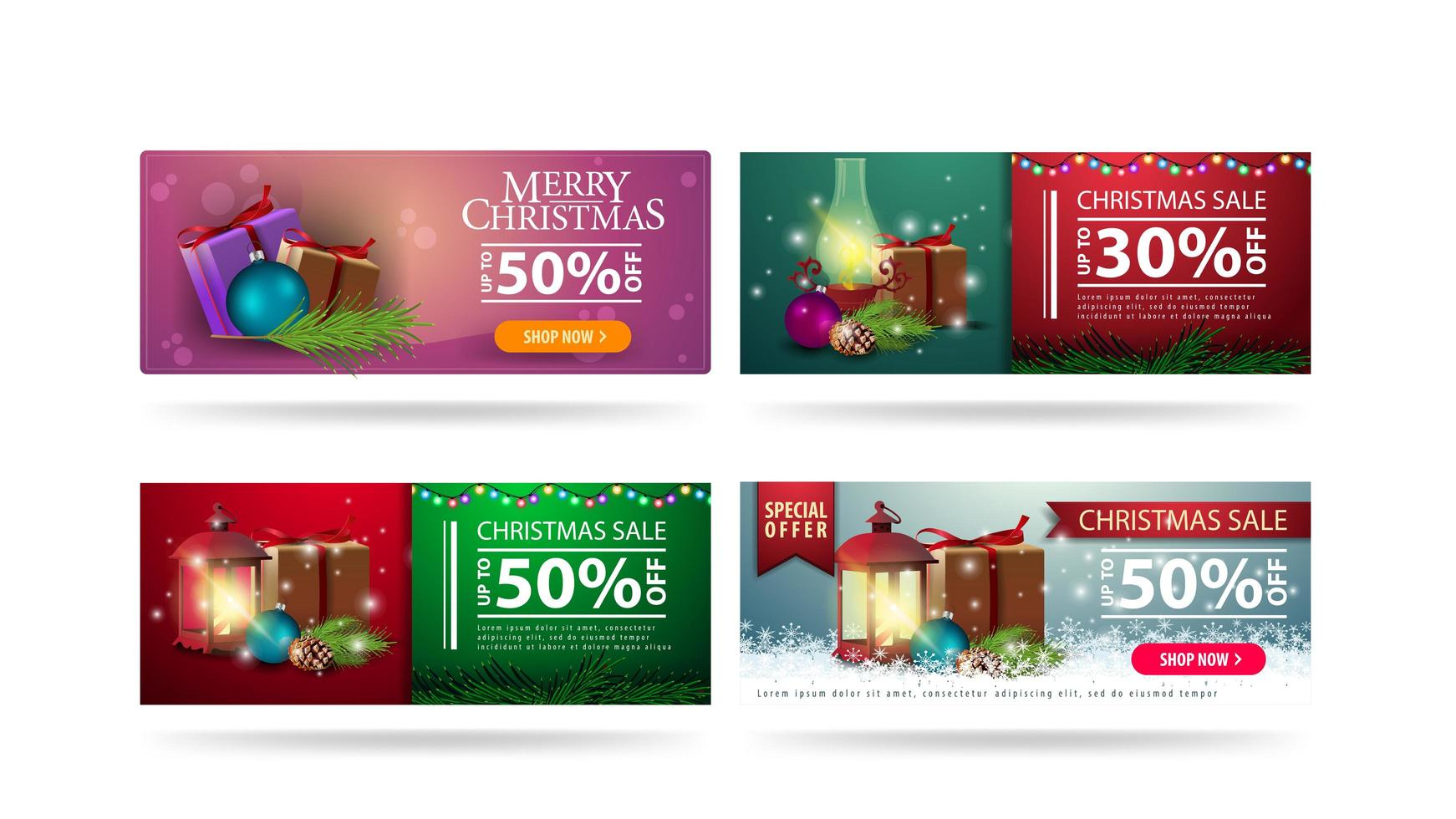 Christmas sale, set of horizontal Christmas discount banners with Christmas elements isolated on white background vector