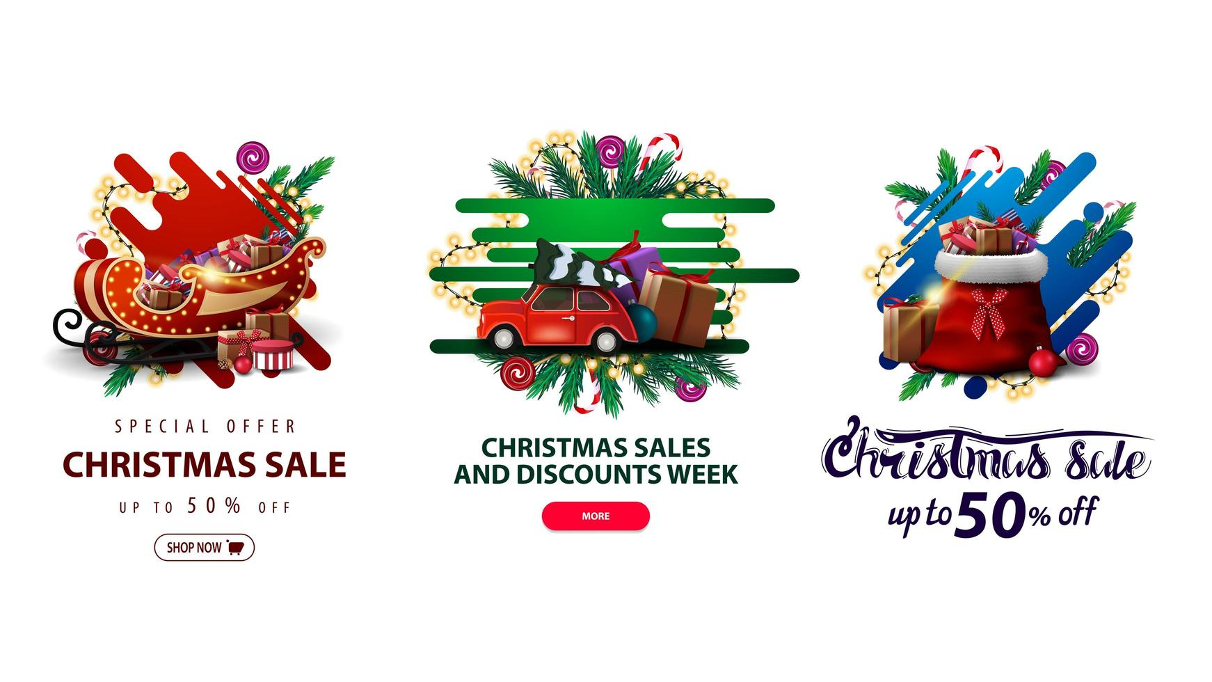 Collection of Christmas discounts web elements in liquid style with decorated with Christmas tree branches vector