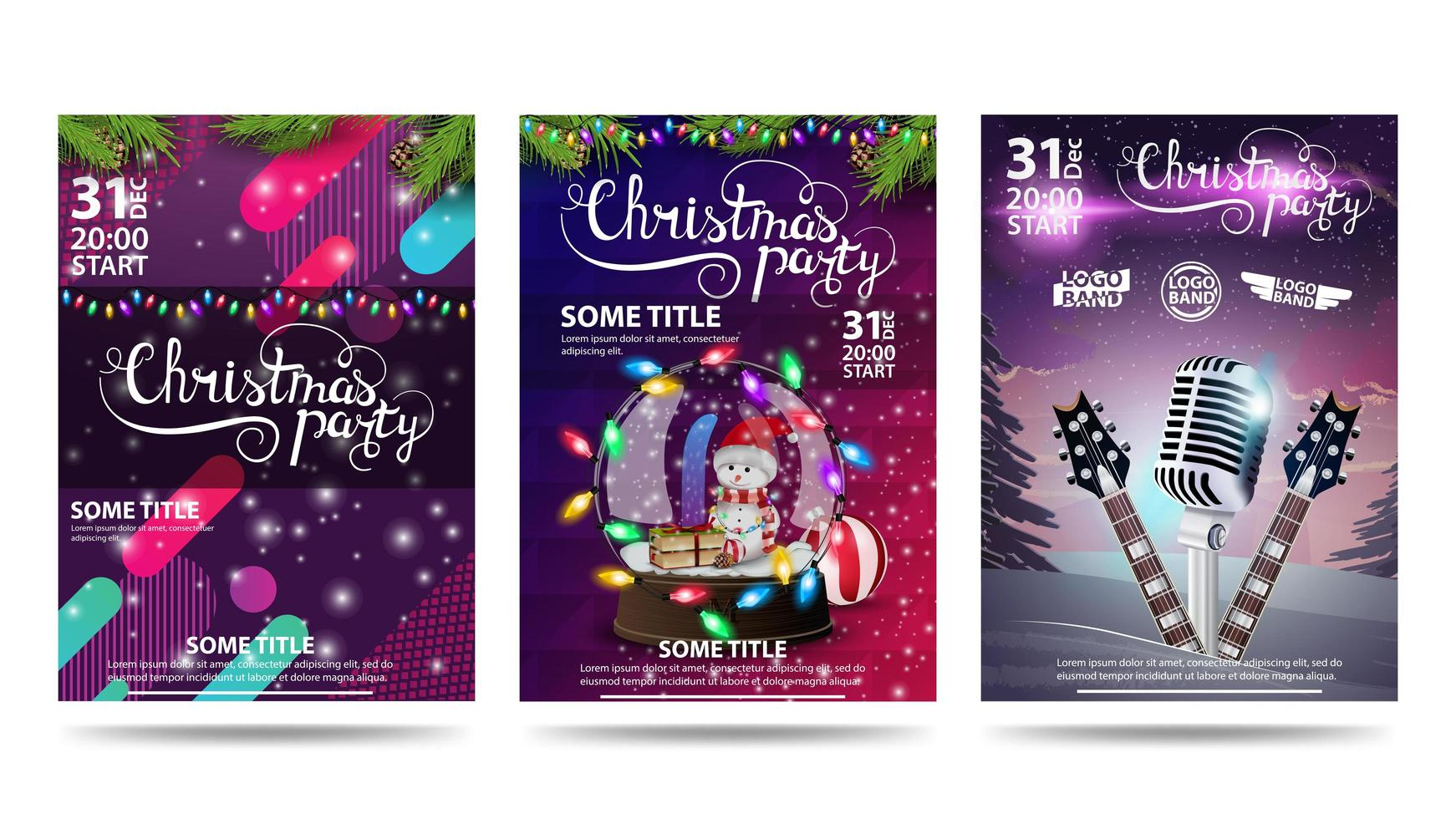 Christmas party, collection of Christmas party posters with stylish design, Christmas and party elements vector