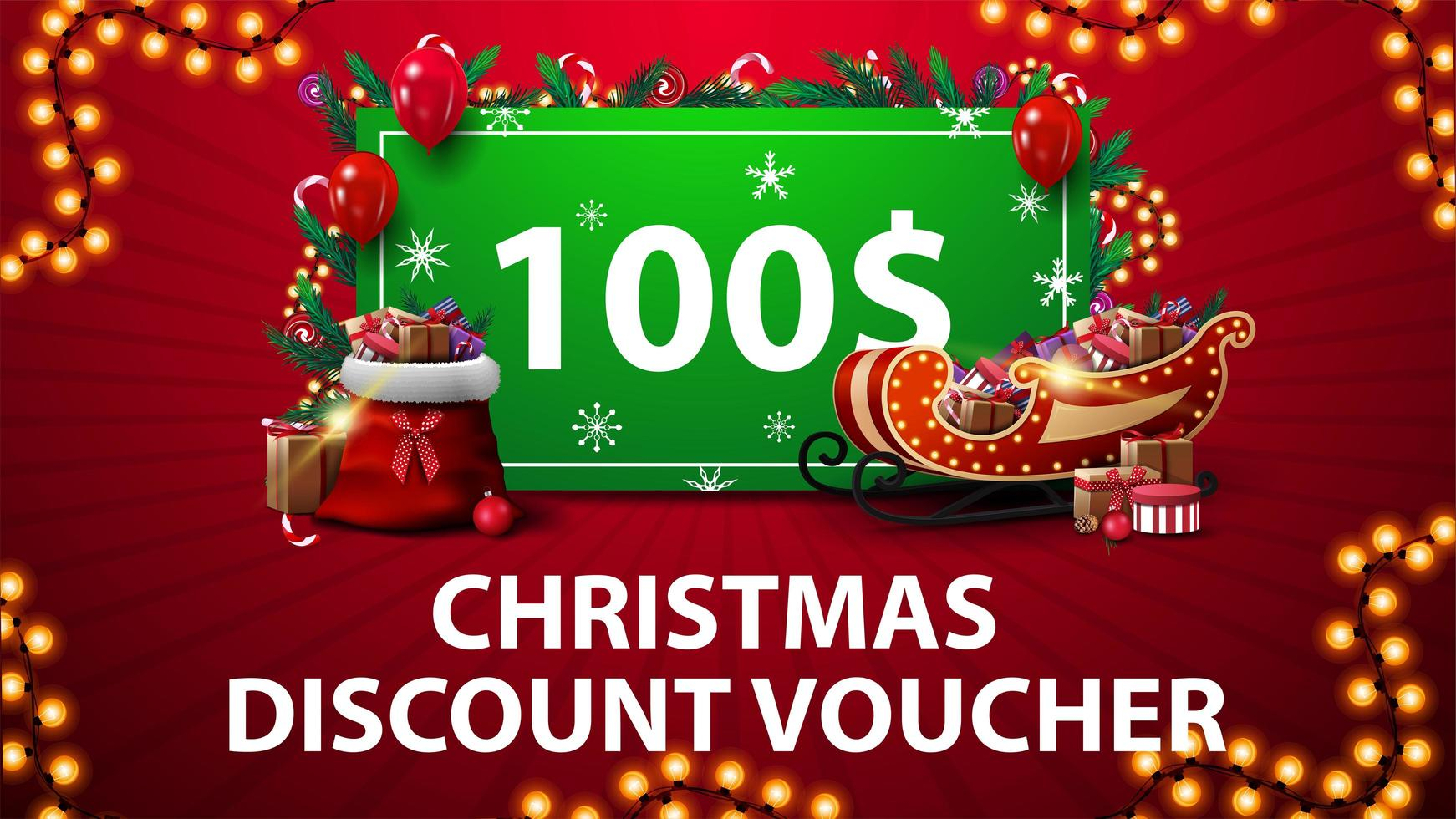 Christmas Discount Voucher with Santa Sleigh and bag with presents, garland frame and green offer decorated with presents vector