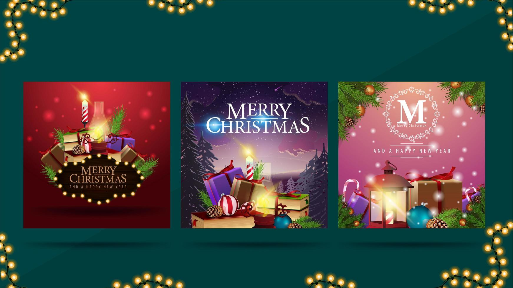 Merry Christmas, collection of Christmas postcards with pile of Christmas presents ready for print. Bright modern Christmas cards vector