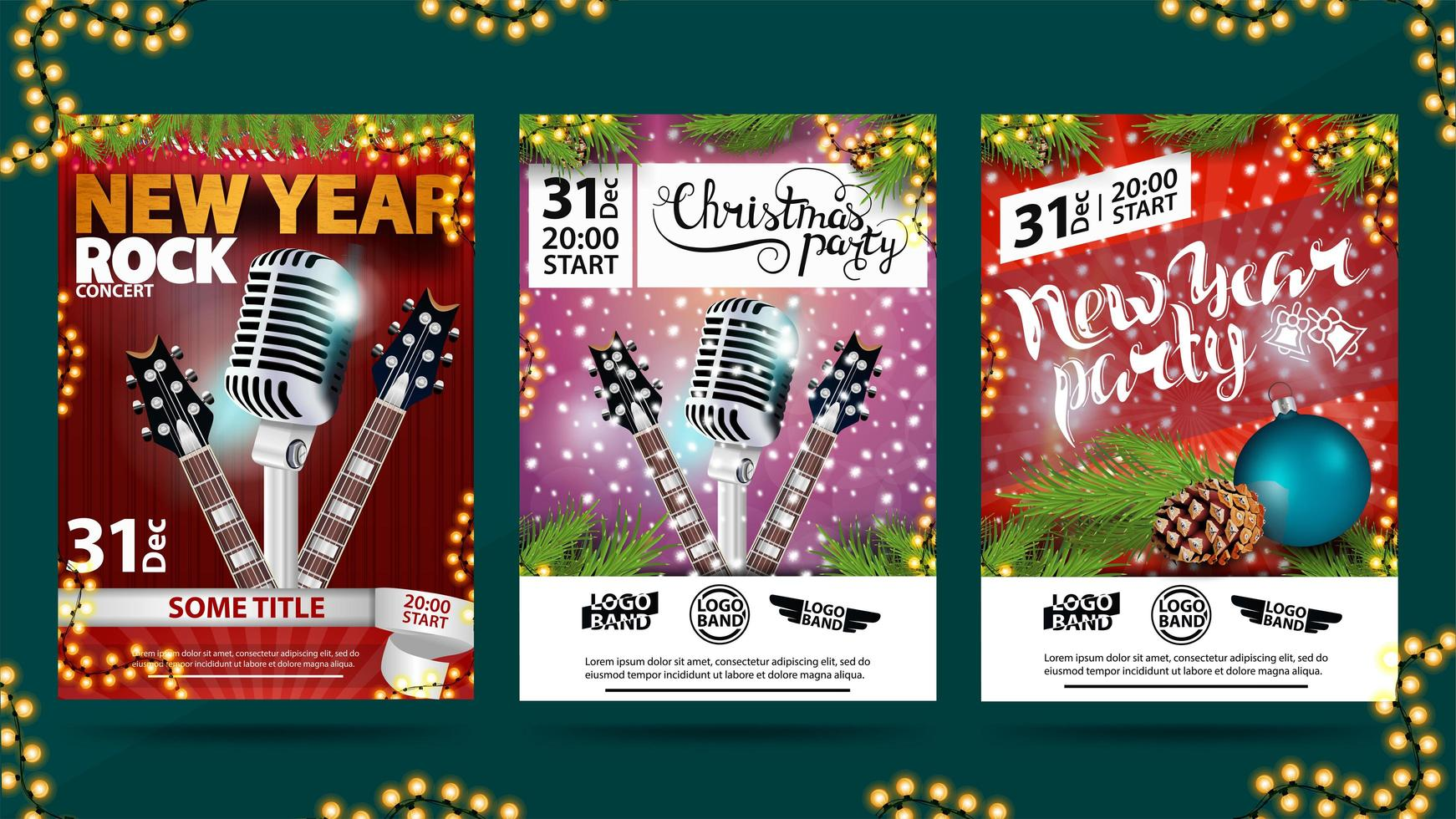 Christmas, New Year, Noel greeting card, posters, flyers, brochures, invitation set. vector