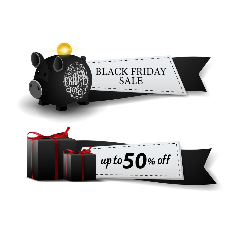 Black Friday sale, two web banners ribbon form with piggy bank and gifts vector
