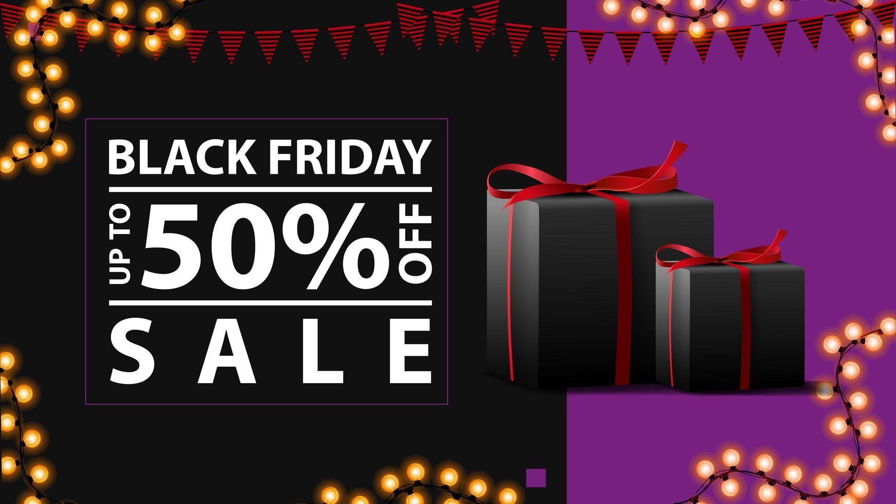 Black Friday sale, up to 50 off. Modern horizontal discount banner with gifts vector