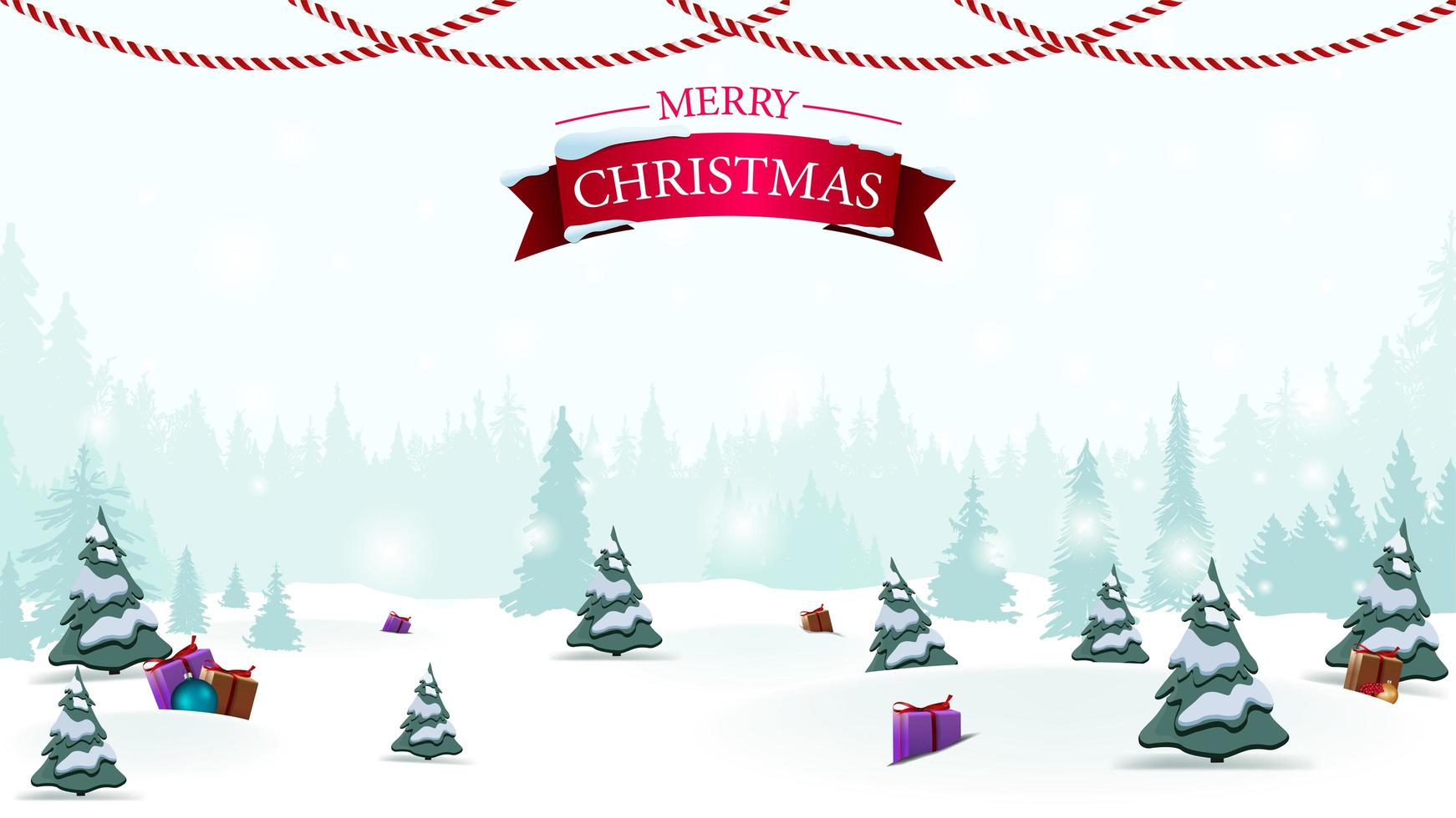 Merry Christmas, blank Christmas template for your arts with light winter cartoon landscape on background vector