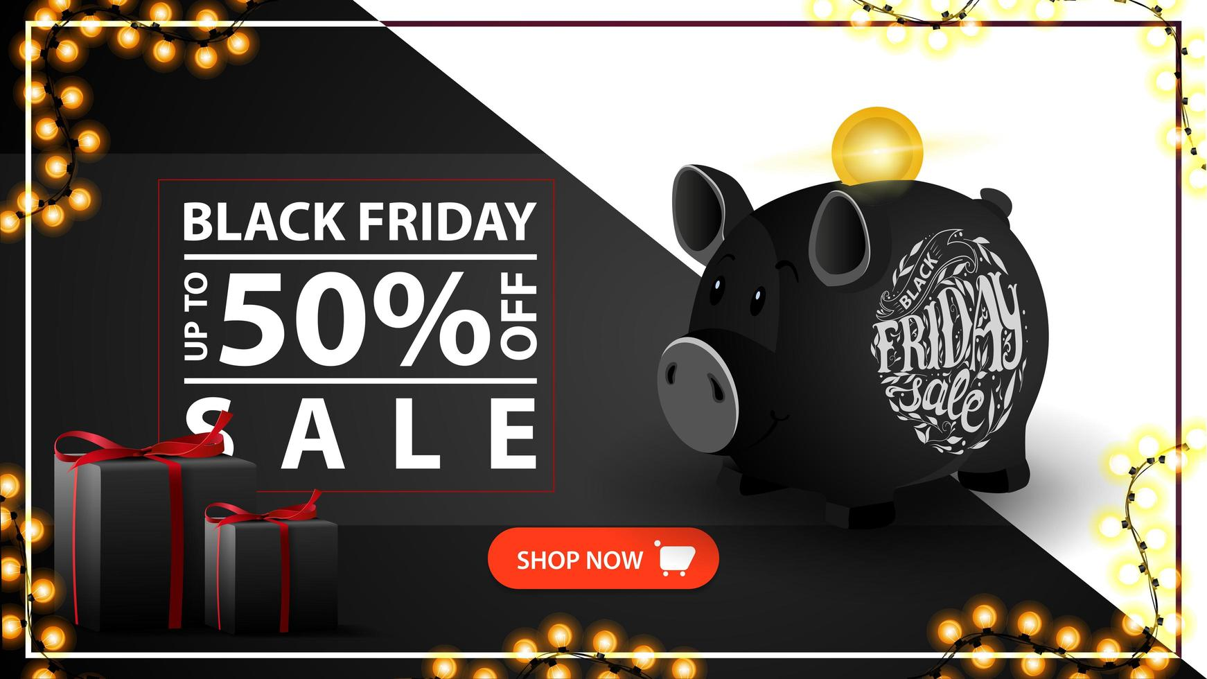 Black Friday sale, up to 50 off. Modern black discount banner with piggy bank vector