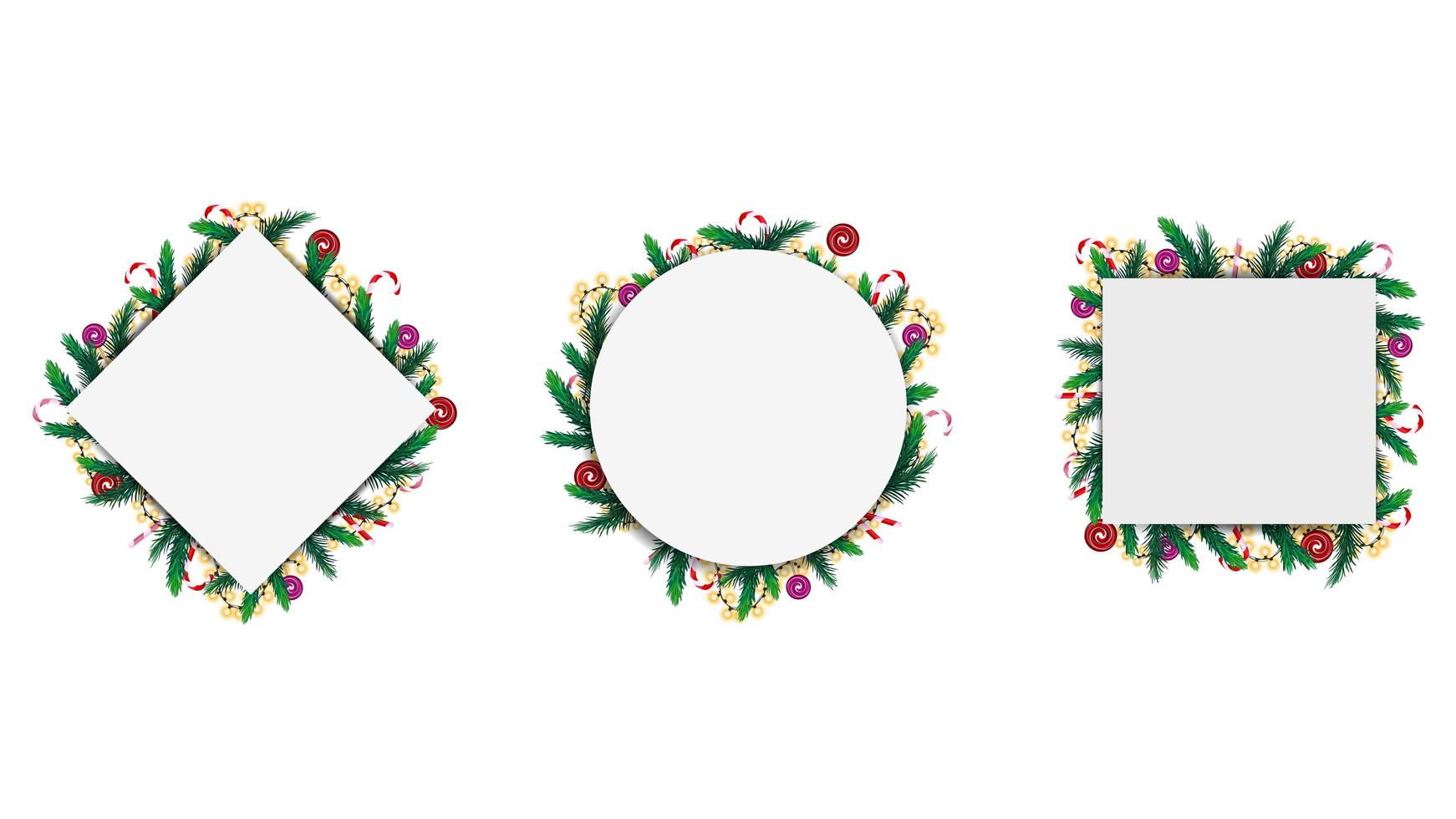 Set of geometric frames made of Christmas tree branches and garlands isolated on a white background. vector