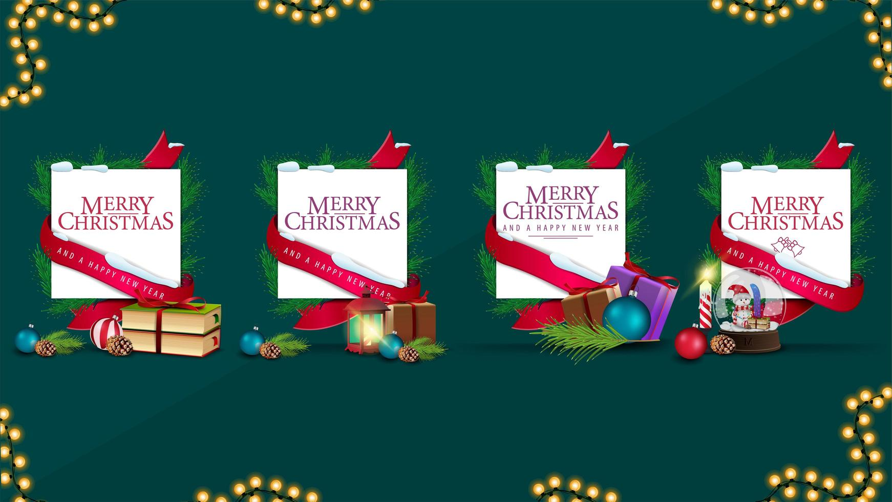 Collection of Christmas templates wrapped of ribbon with greetings and decorated with Christmas presents vector