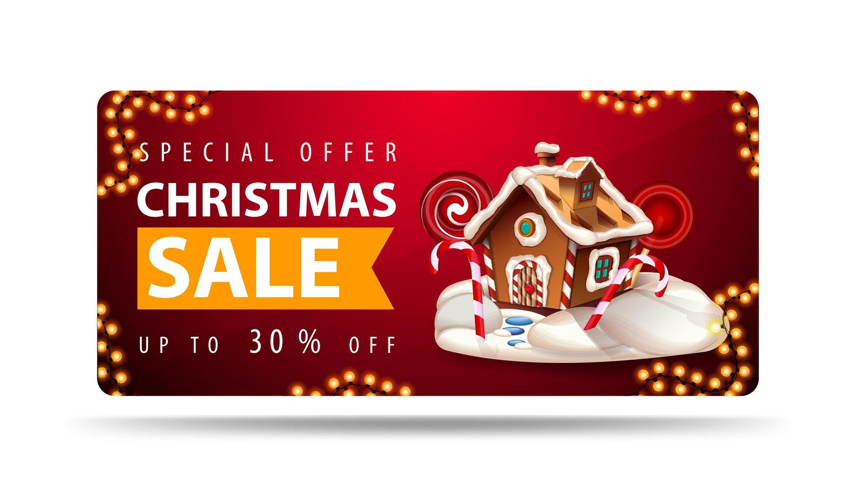 Special offer, Christmas sale, up to 30 off, red banner with Christmas gingerbread house, orange ribbon with offer and Christmas gingerbread house vector