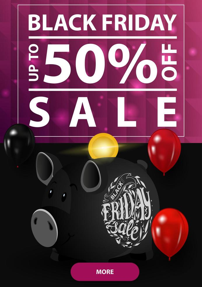 Black Friday sale, up to 50 off, vertical discount banner with polygonal purple texture and piggy bank vector