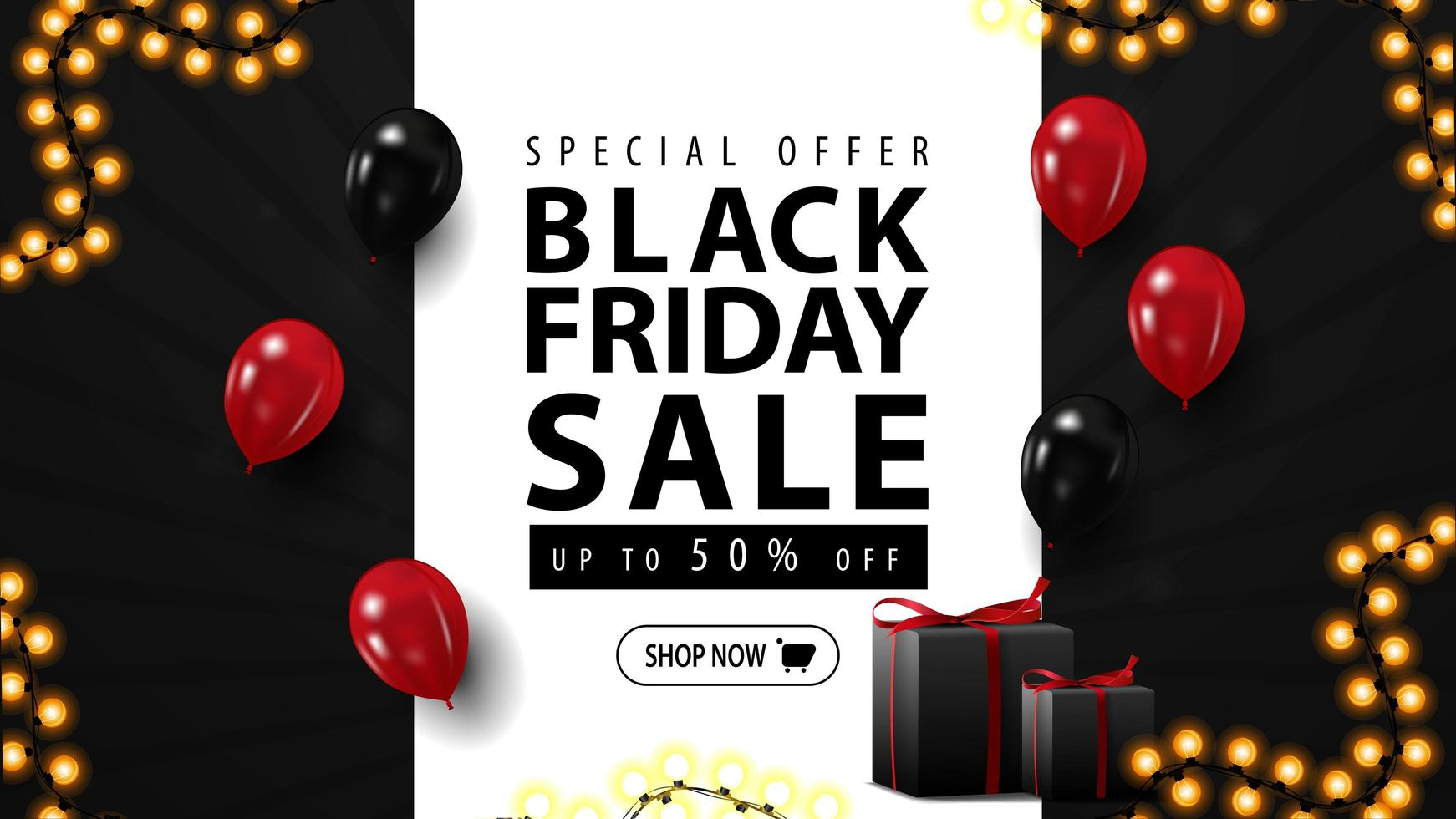 Black Friday sale, horizontal web banner for your business with gifts. Black discount banner with balloons vector