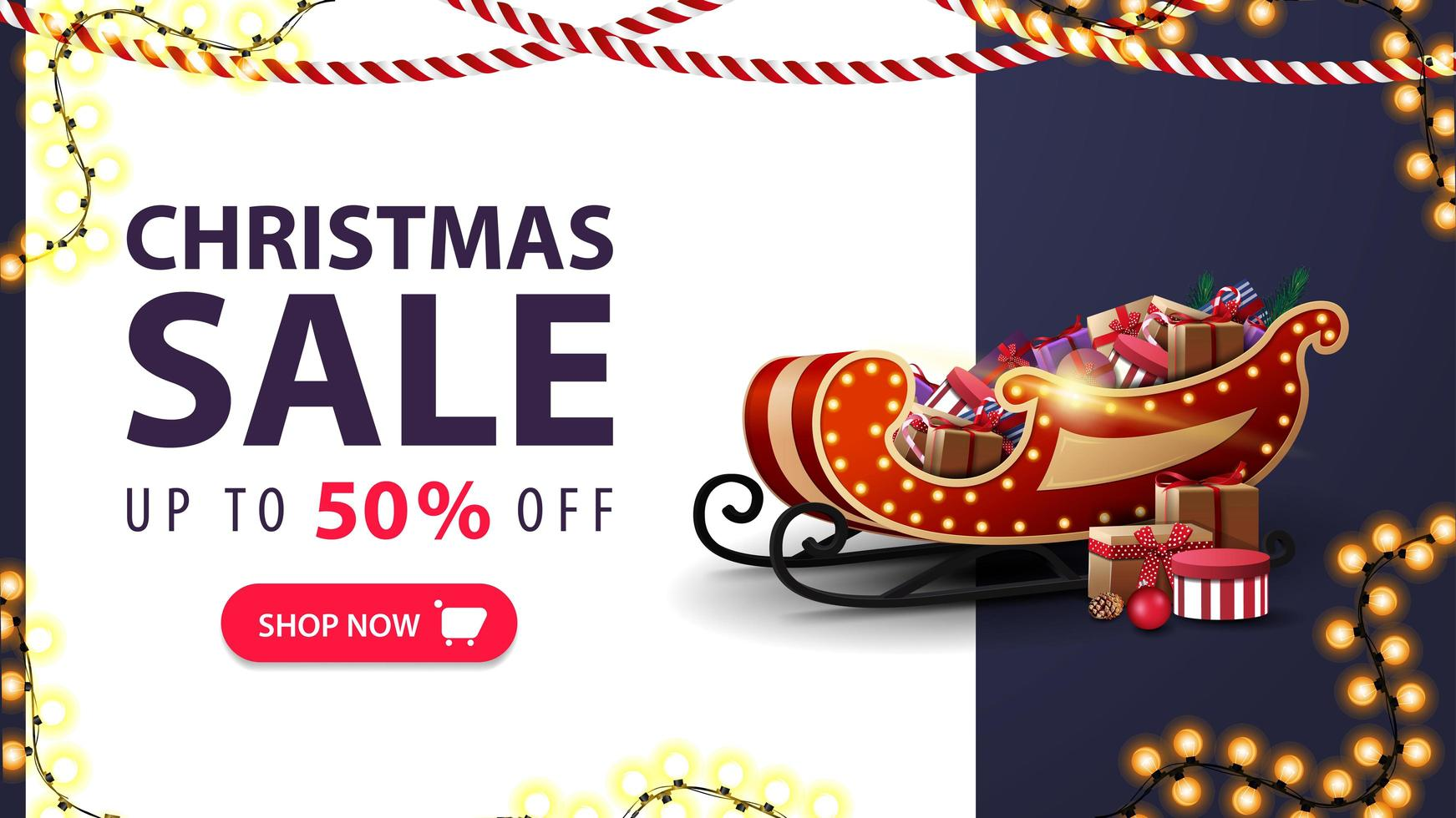 Christmas sale, up to 50 off, white and blue discount banner with Santa Sleigh with presents, garlands and offer with button vector