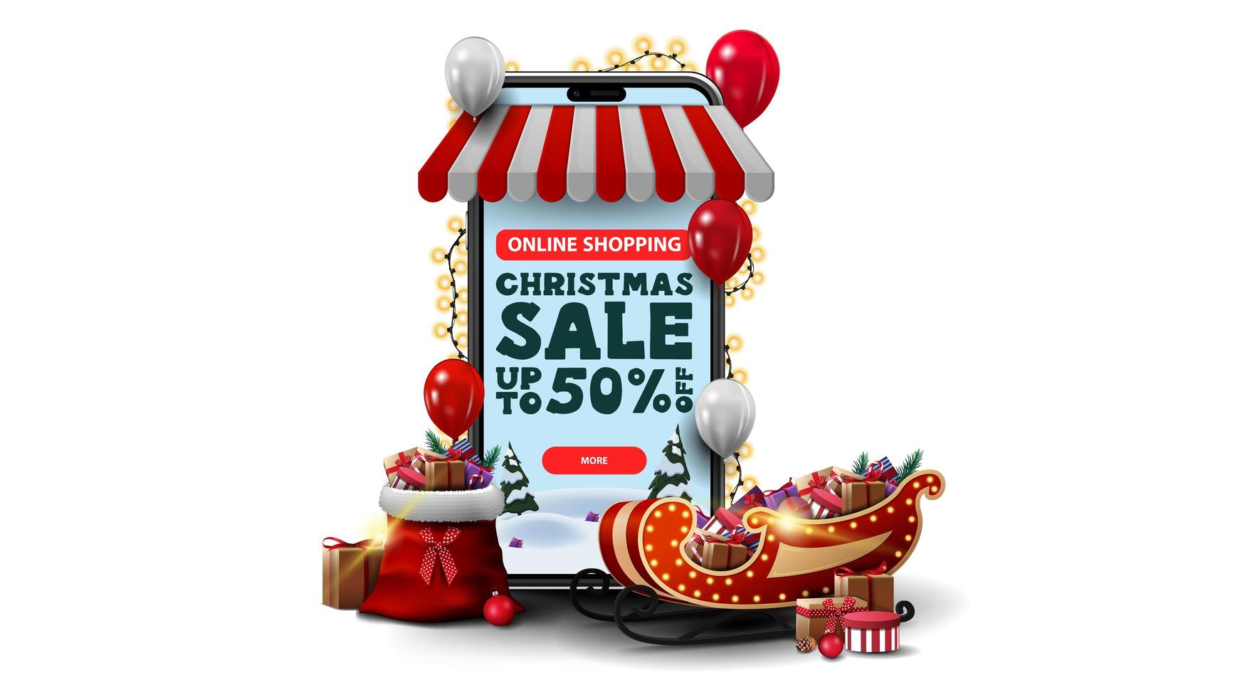 Online shopping, Christmas Sale, up to 50 off. Online shopping with smartphone. Volumetric smartphone wrapped with garland and presents isolated on white background vector