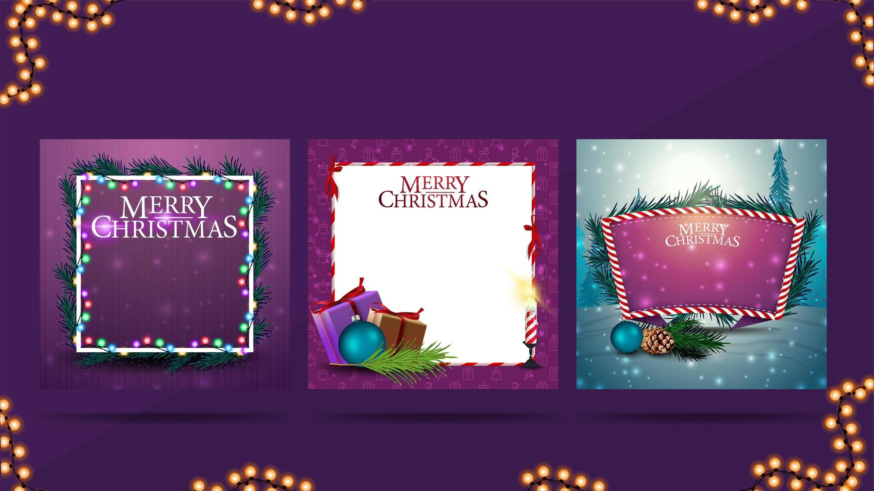 Set of Christmas blank greeting templates with copy space. Templates for your creativity with Christmas decorations vector