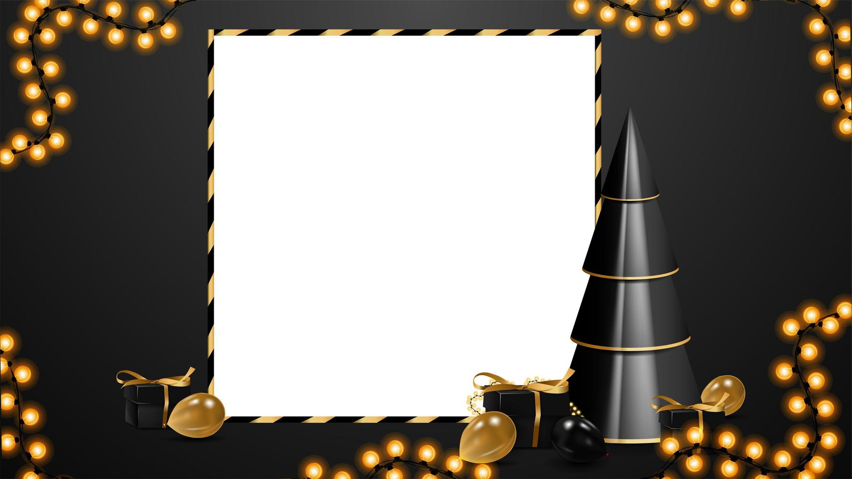 Black and white Christmas discount blank template with copy space. Volumetric geometrical Christmas tree with presents in black and gold colors vector