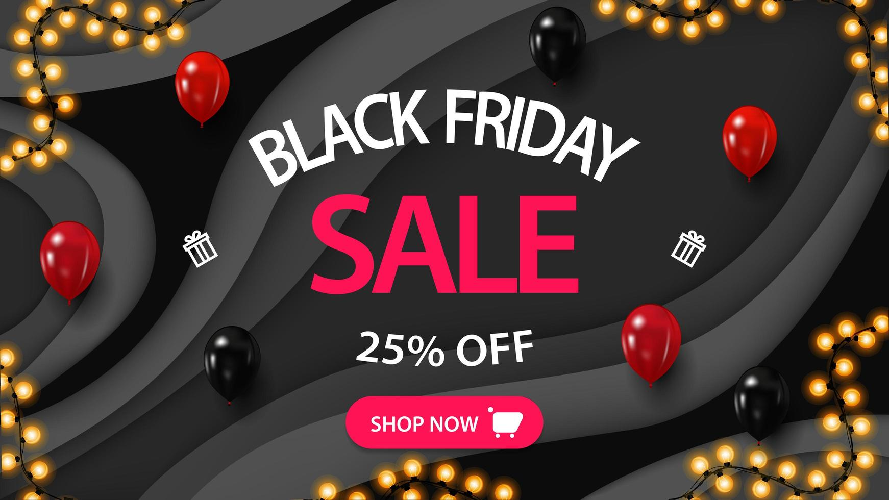 Modern black discount banner in paper cut style vector