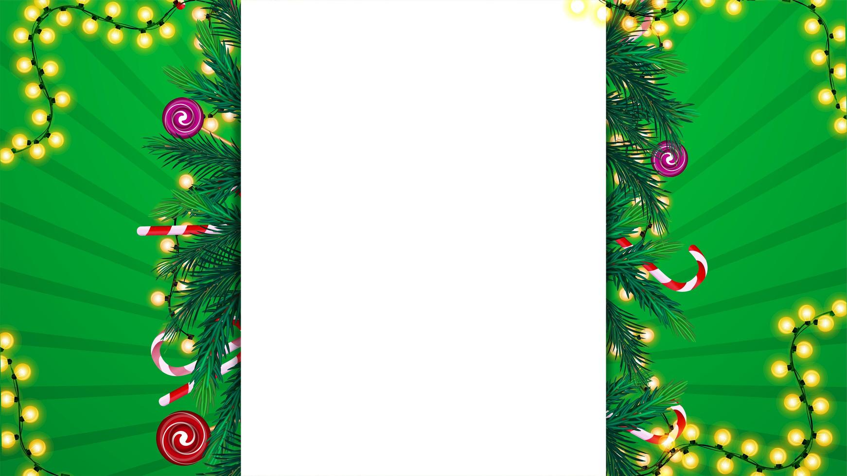 Christmas template with white large blank stripe in the middle decorated with Christmas tree branches, candy canes and garlands vector