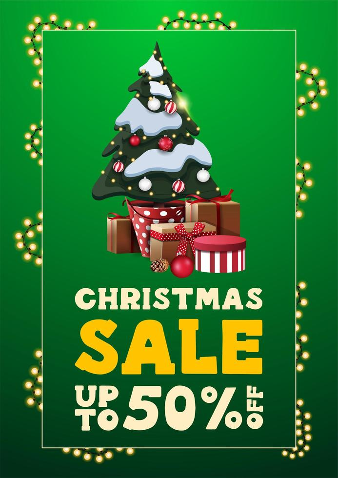 Christmas sale, up to 50 off, green vertical discount banner in minimalistic style with garland frame and Christmas tree and gifts vector