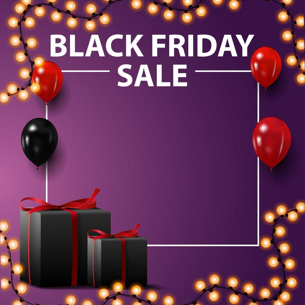 Black Friday sale, square template for your arts with copy space vector