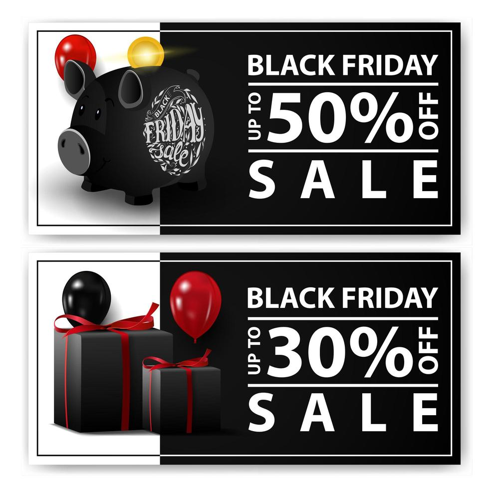Black Friday sale, two horizontal web banners with piggy bank and gifts. vector