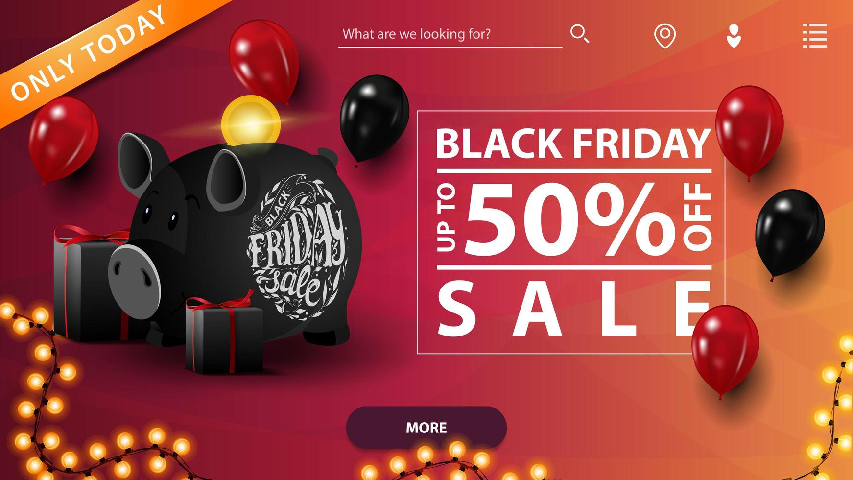 Black Friday sale, up to 50 off. Discount banner for website with balloons, gifts, piggy bank and garland vector