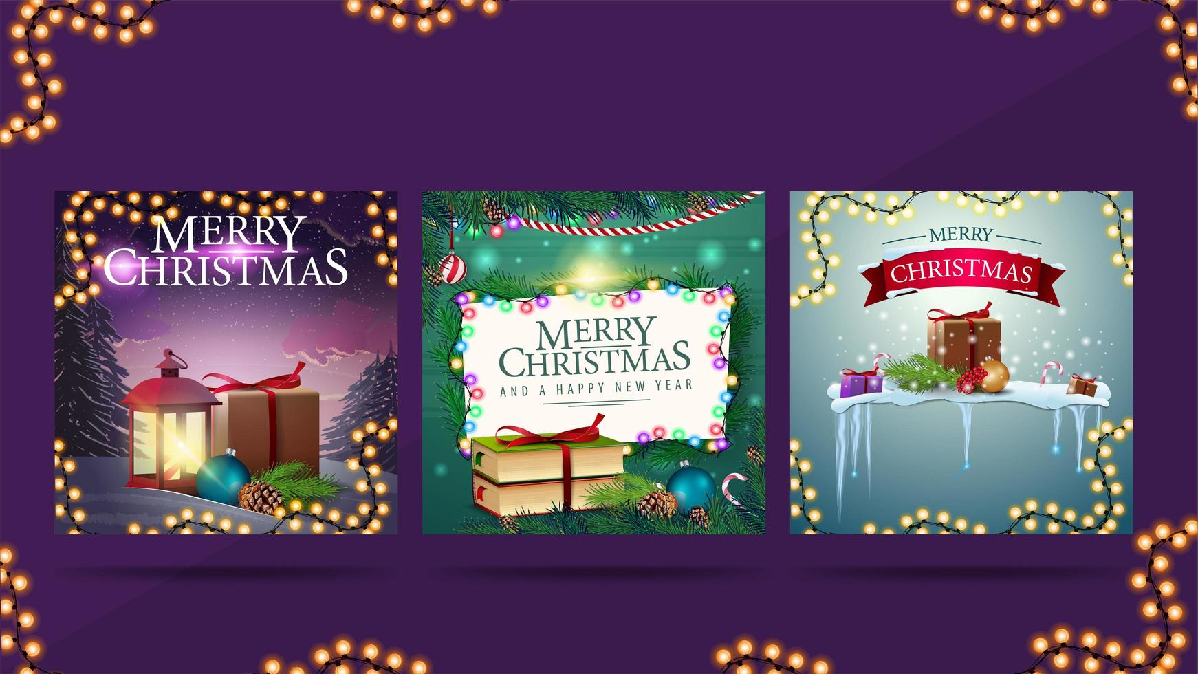 Christmas greeting square postcards with Christmas presents, garlands and Christmas decorations vector