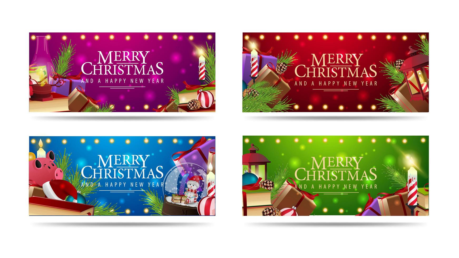 Set of Christmas horizontal greeting banners decorated with piles of Christmas presents vector