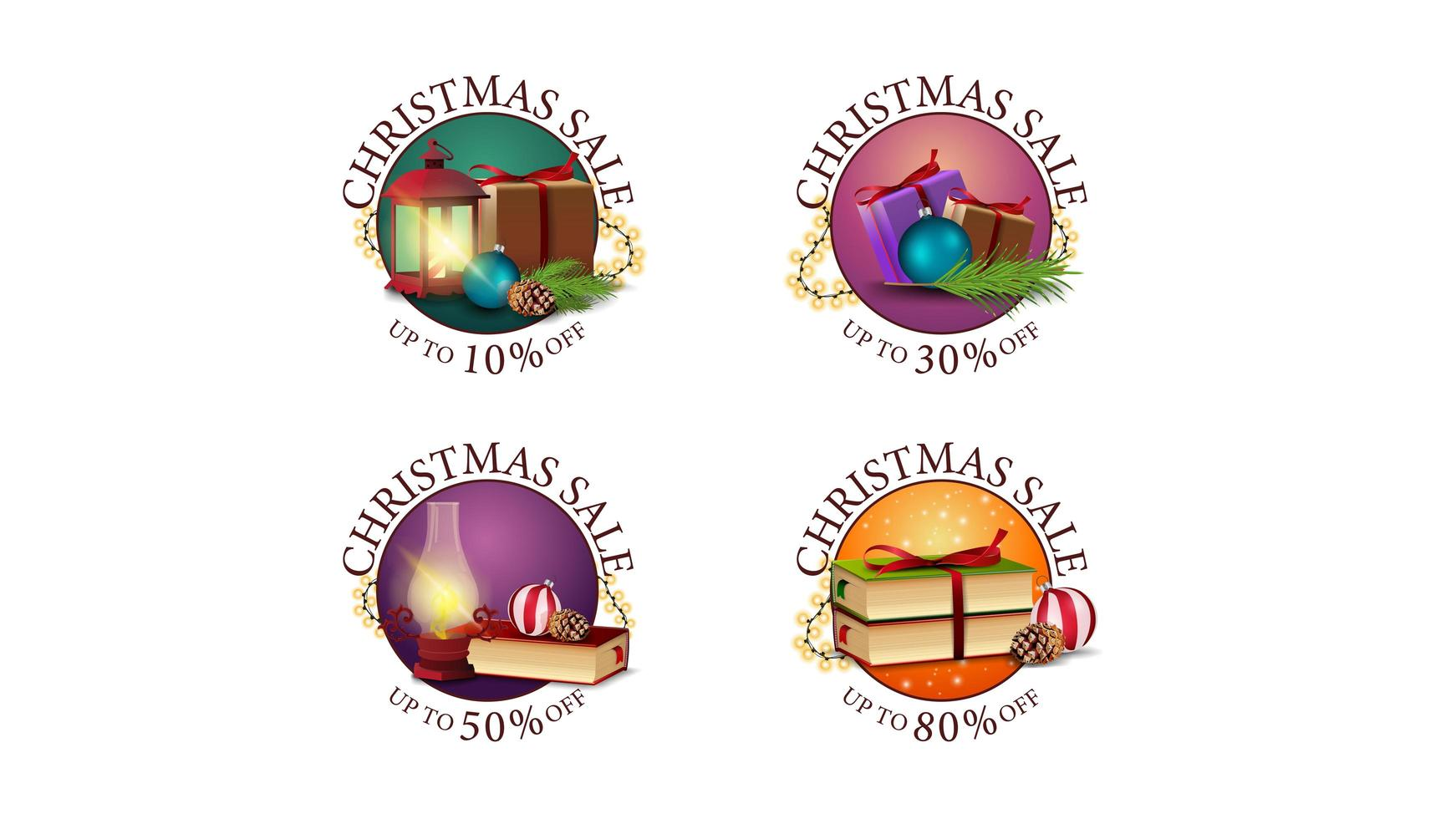 Collection of Christmas round discount web stickers decorated with Christmas icons. Set of round banners with different offers vector