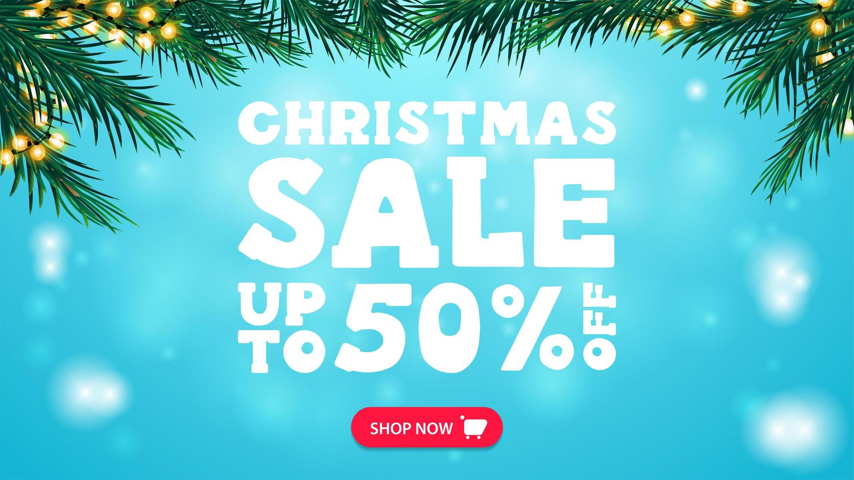 Christmas sale, up to 50 off, blue discount banner with frame of Christmas tree branches decorated with garland, button and large white offer vector