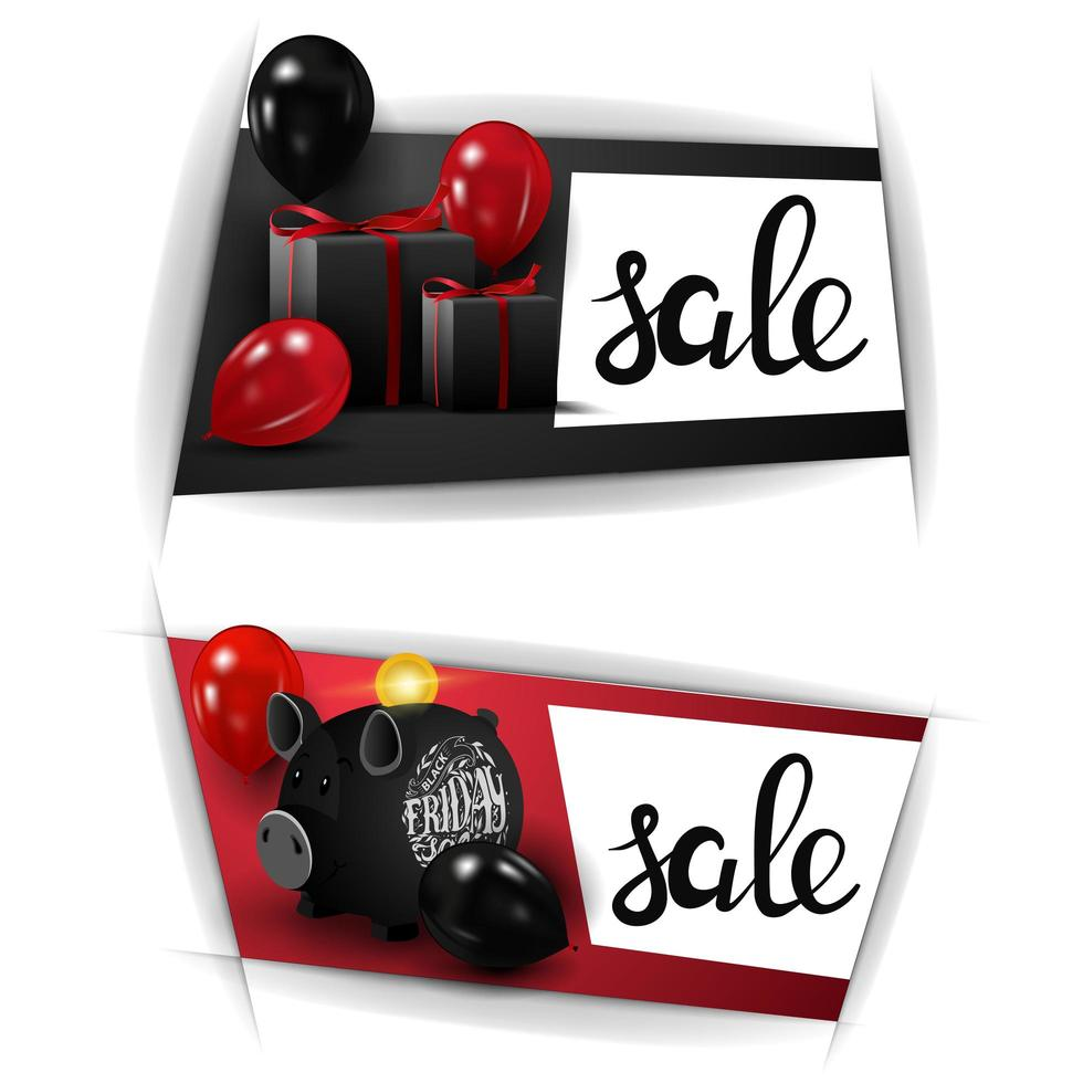 Black Friday sale, two horizontal discounts banners with piggy Bank, balloons and gifts vector