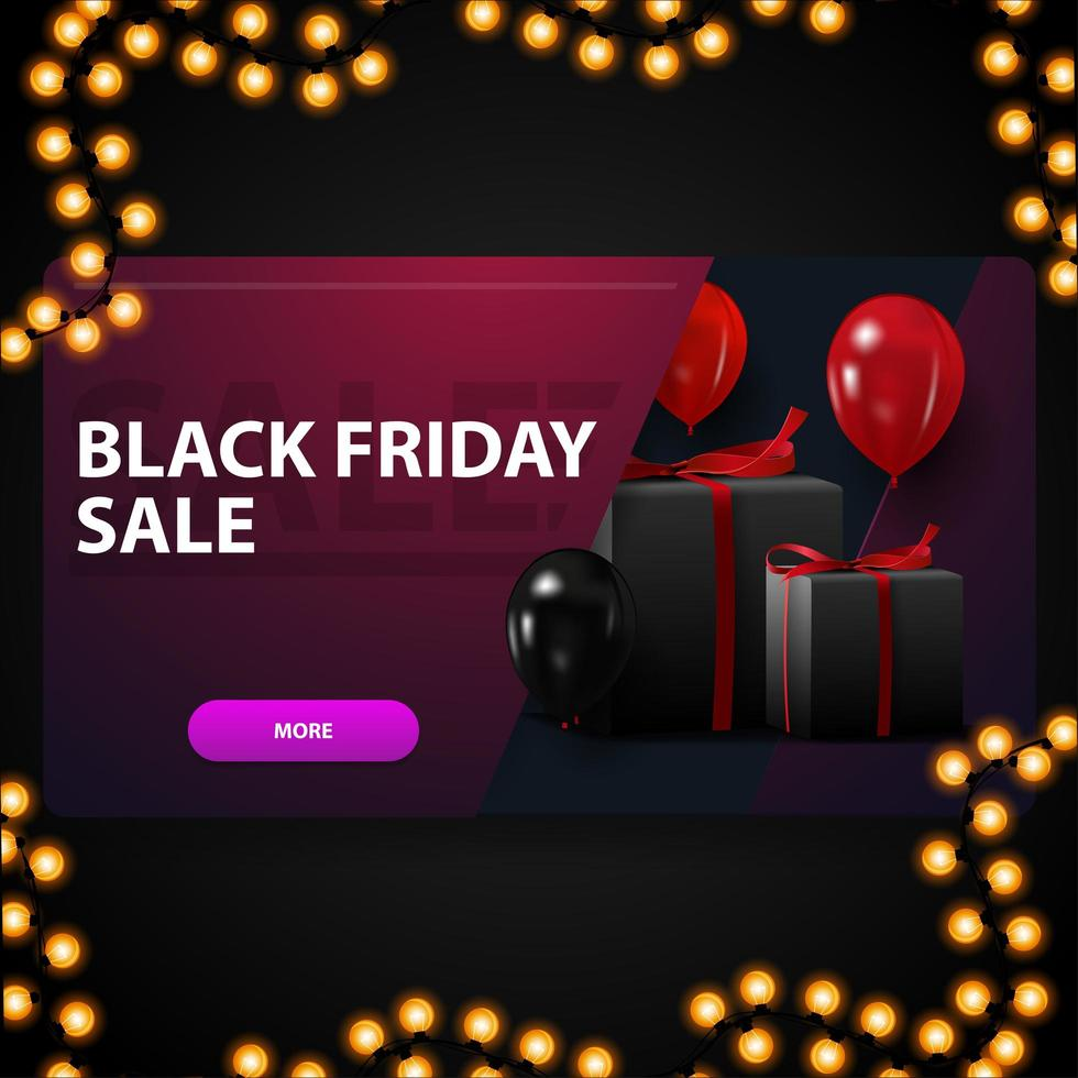 Black Friday sale, modern purple 3D discount banner with balloons and gifts vector