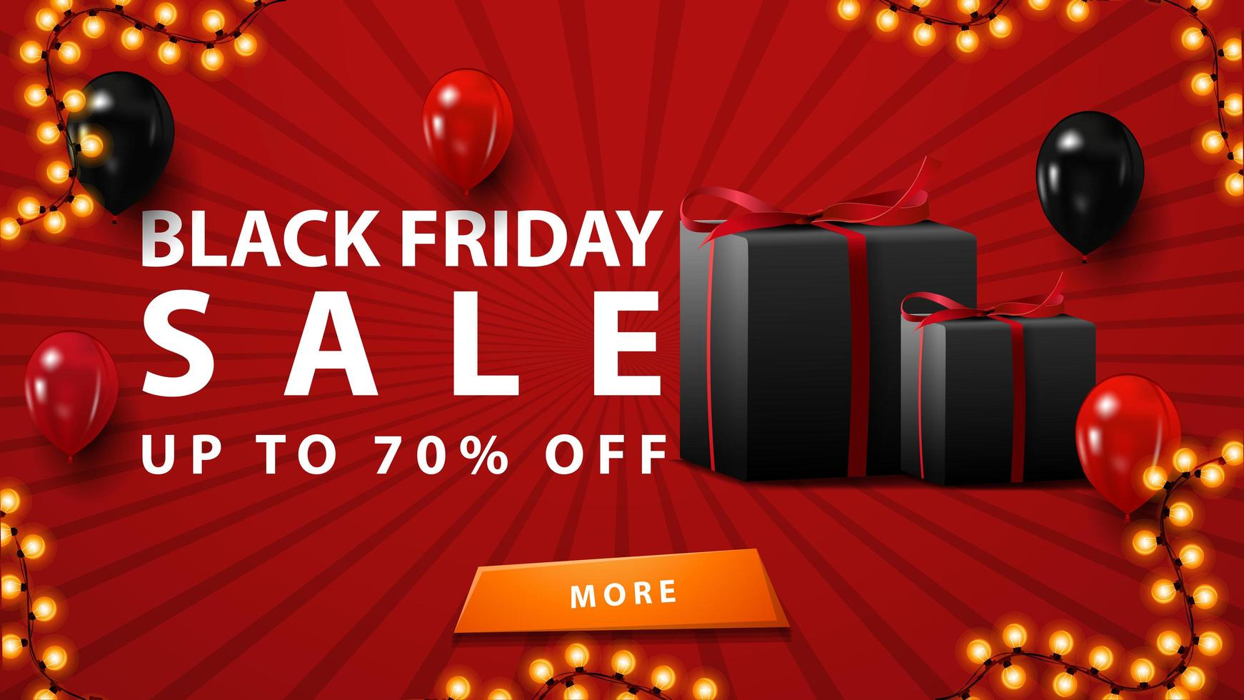 Black Friday sale, up to 70 off, discount red banner in minimalistic modern style with balloons and gifts. vector