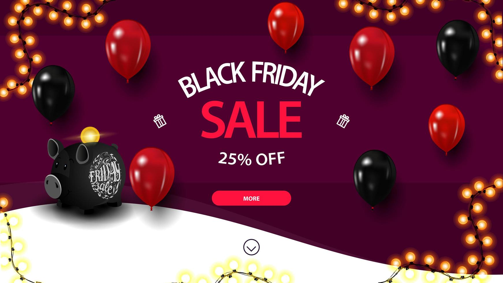 Black Friday sale, up to 25 off, discount purple banner with piggy bank and balloons for website vector