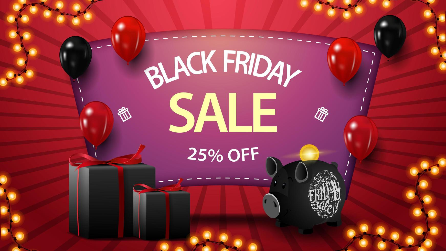 Black Friday sale, up to 25 off, discount pink banner with gifts, piggy bank and balloons vector