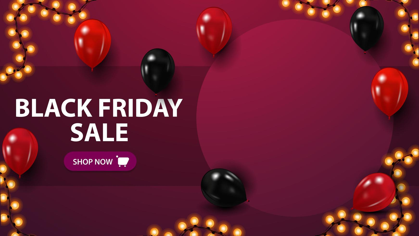 Black Friday sale, discount template with copy space, place for your photo, and balloons vector