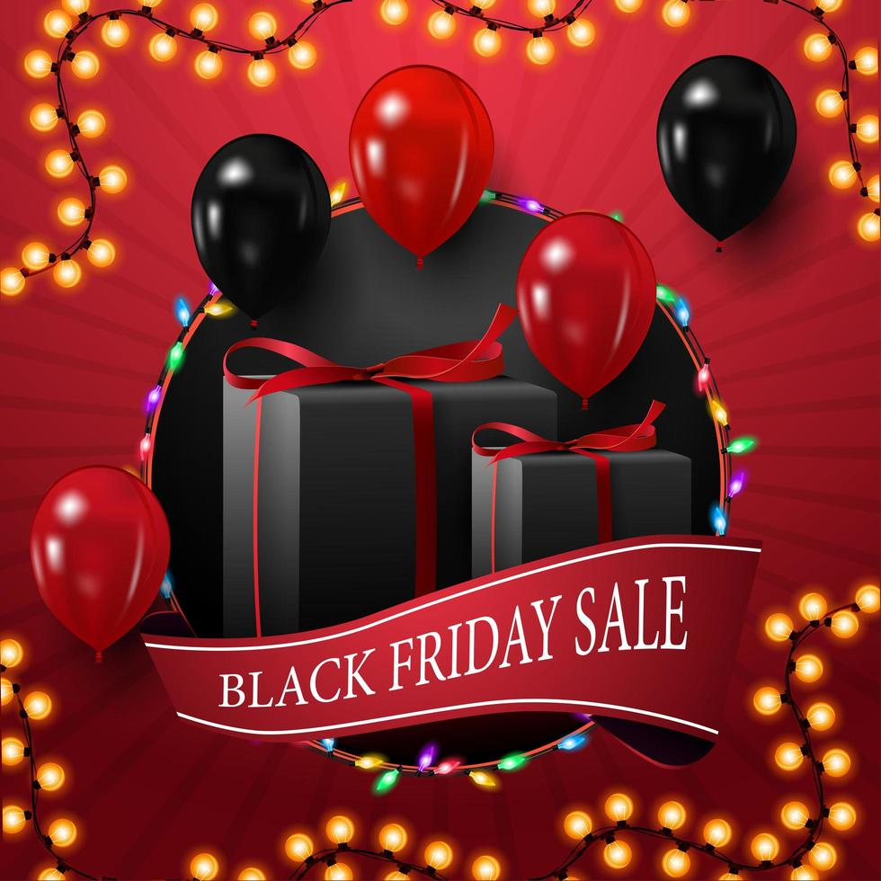 Black Friday sale, square discount banner for your creativity with big circle, garland, ribbon and balloons vector