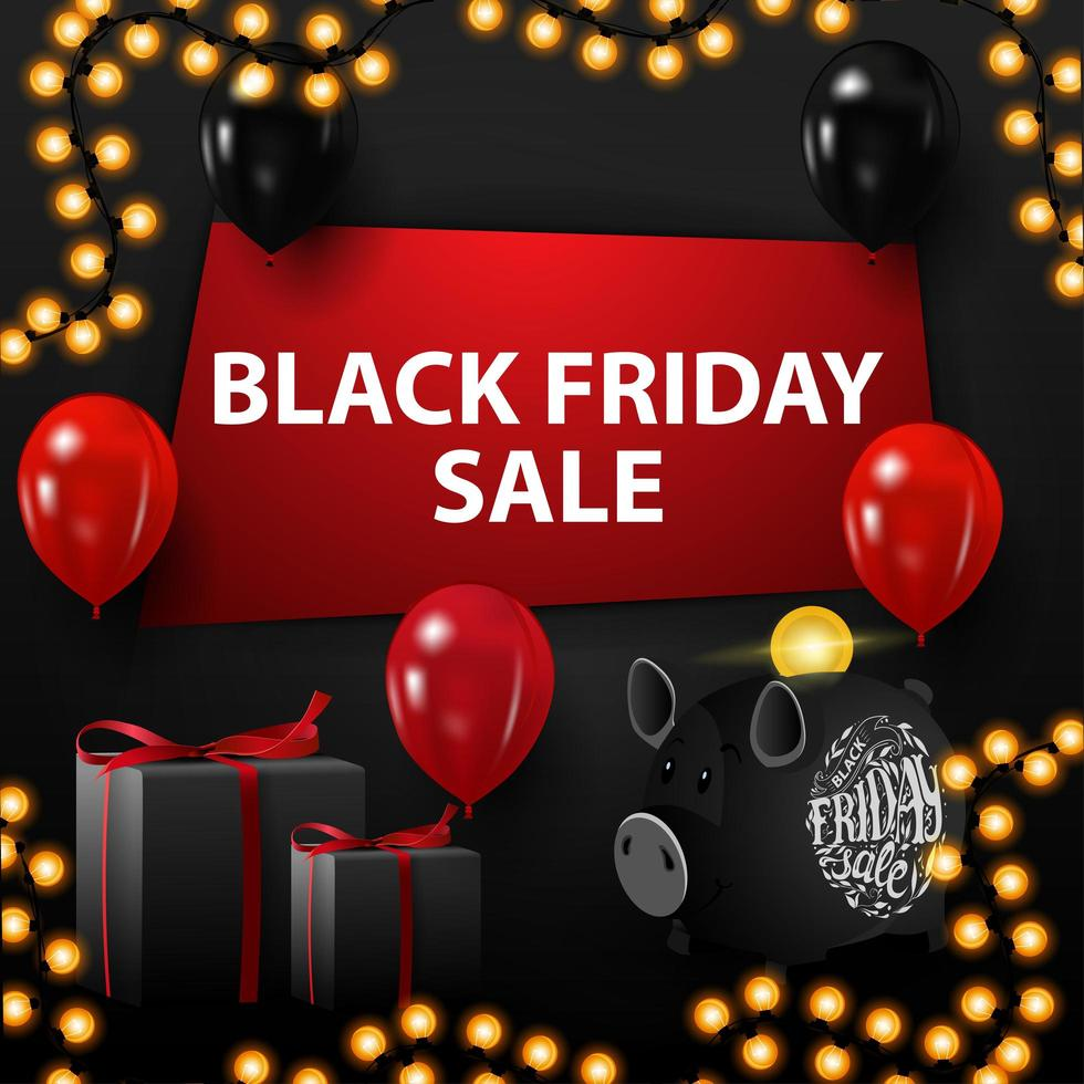 Black Friday sale, black discount banner with a hole in the wall, balloons, gifts, piggy bank and garland vector