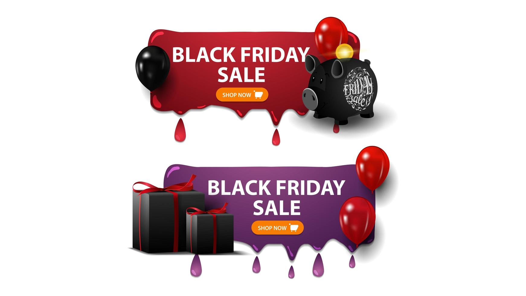 Black Friday sale, two horizontal discounts banners with piggy bank, balloons and gifts isolated on white background vector
