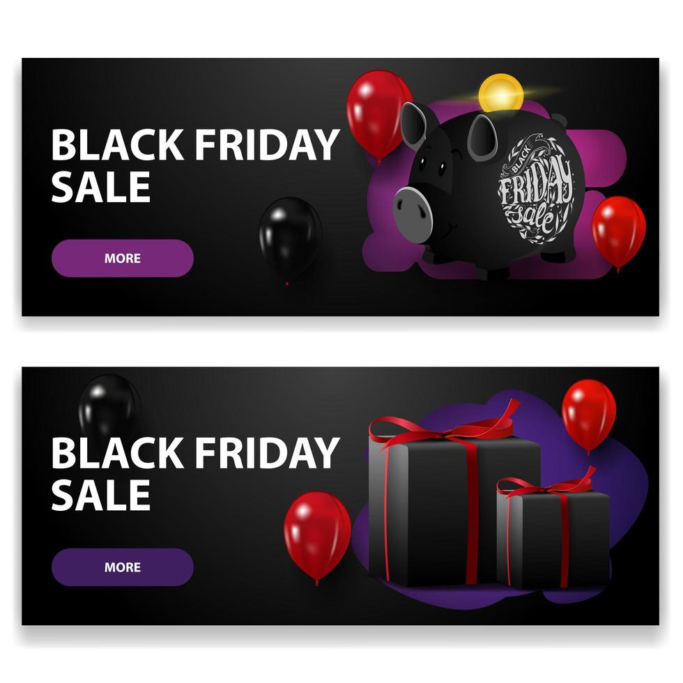 Black Friday sale, two black horizontal discounts banners with piggy bank, balloons and gifts isolated on white background vector