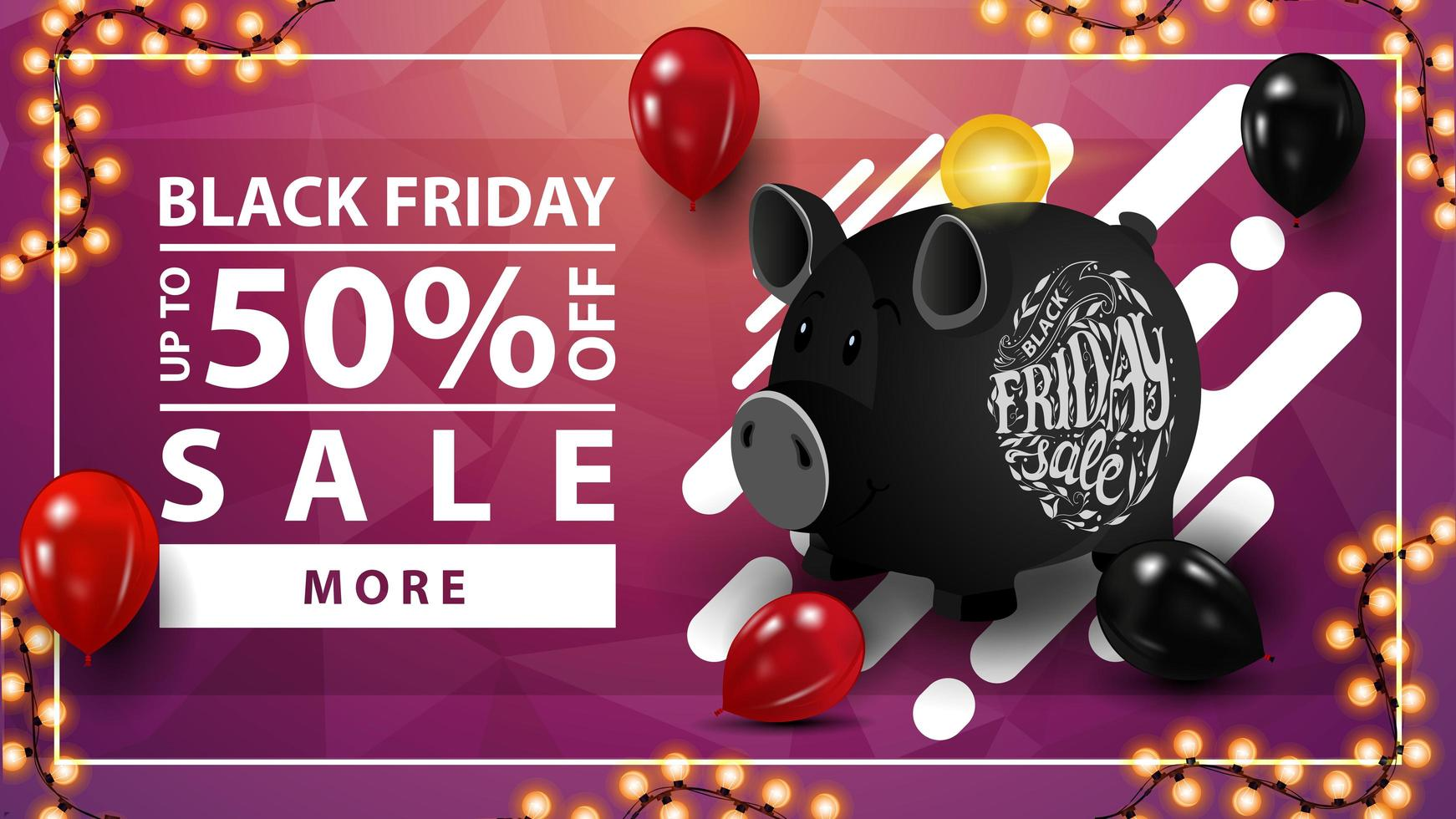 Black Friday sale, up to 50 off, pink horizontal discount web banner with black piggy bank vector