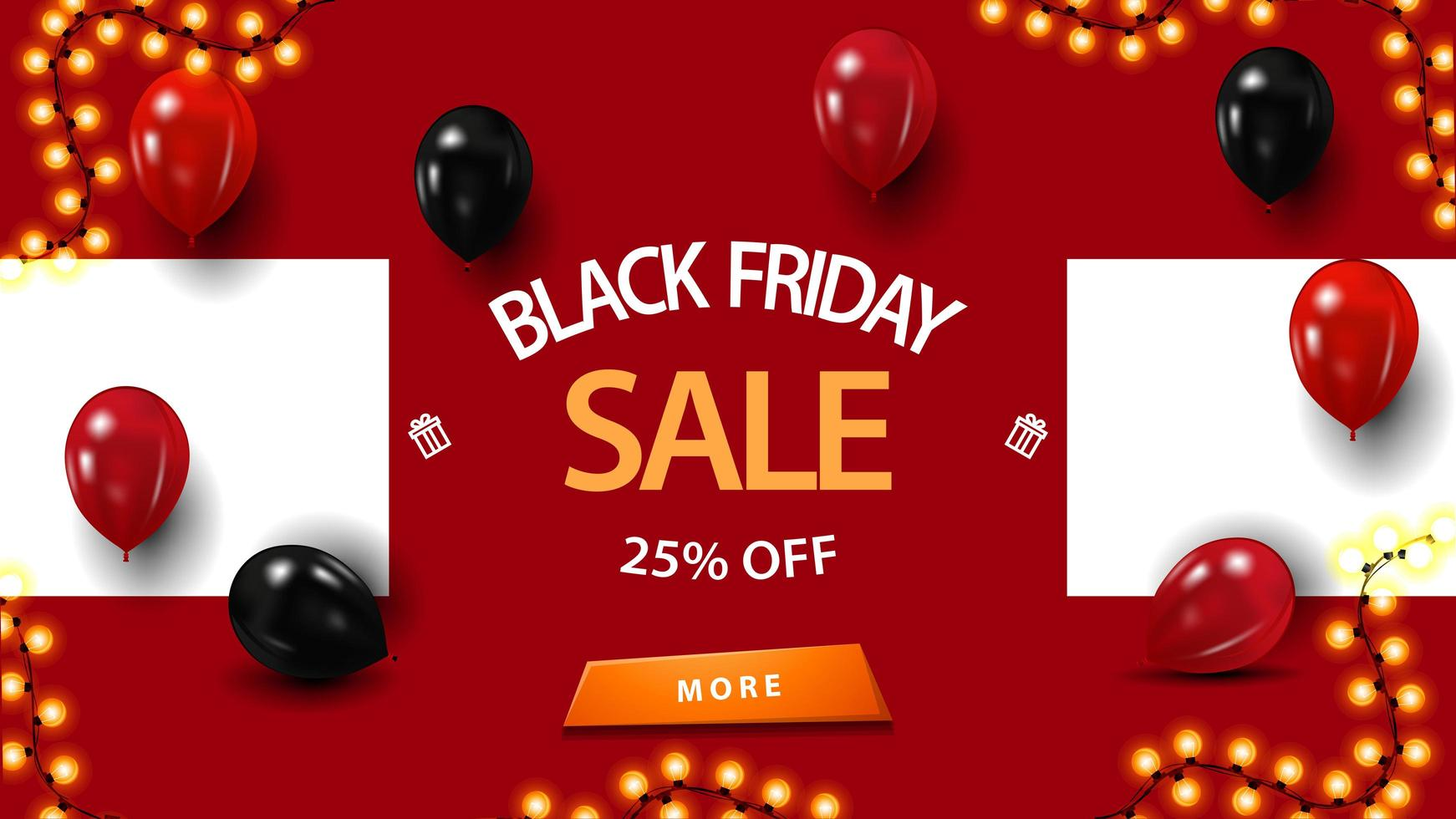 Black Friday sale, up to 25 off, discount red banner with balloons vector