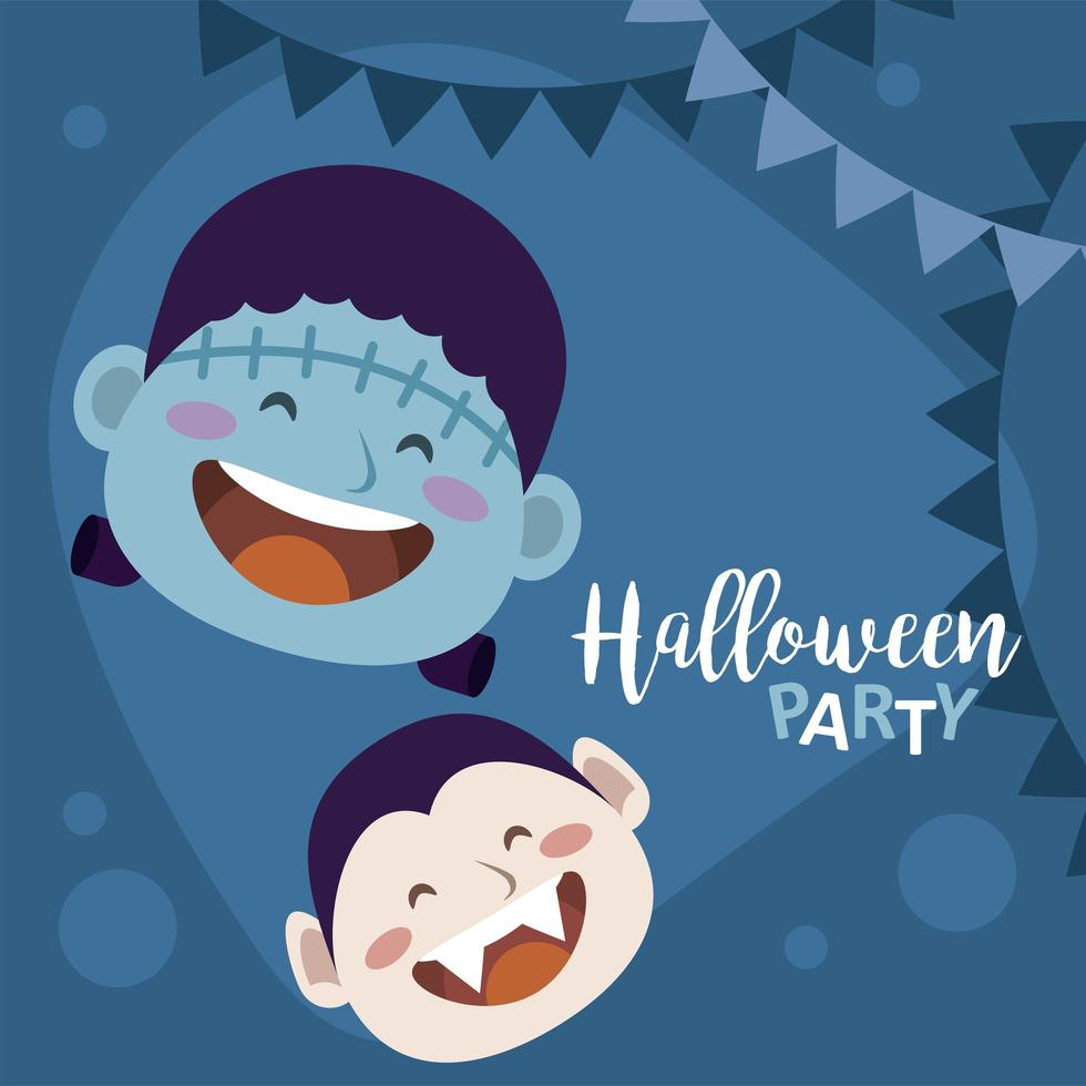 happy halloween party with dracula and frankenstein heads vector