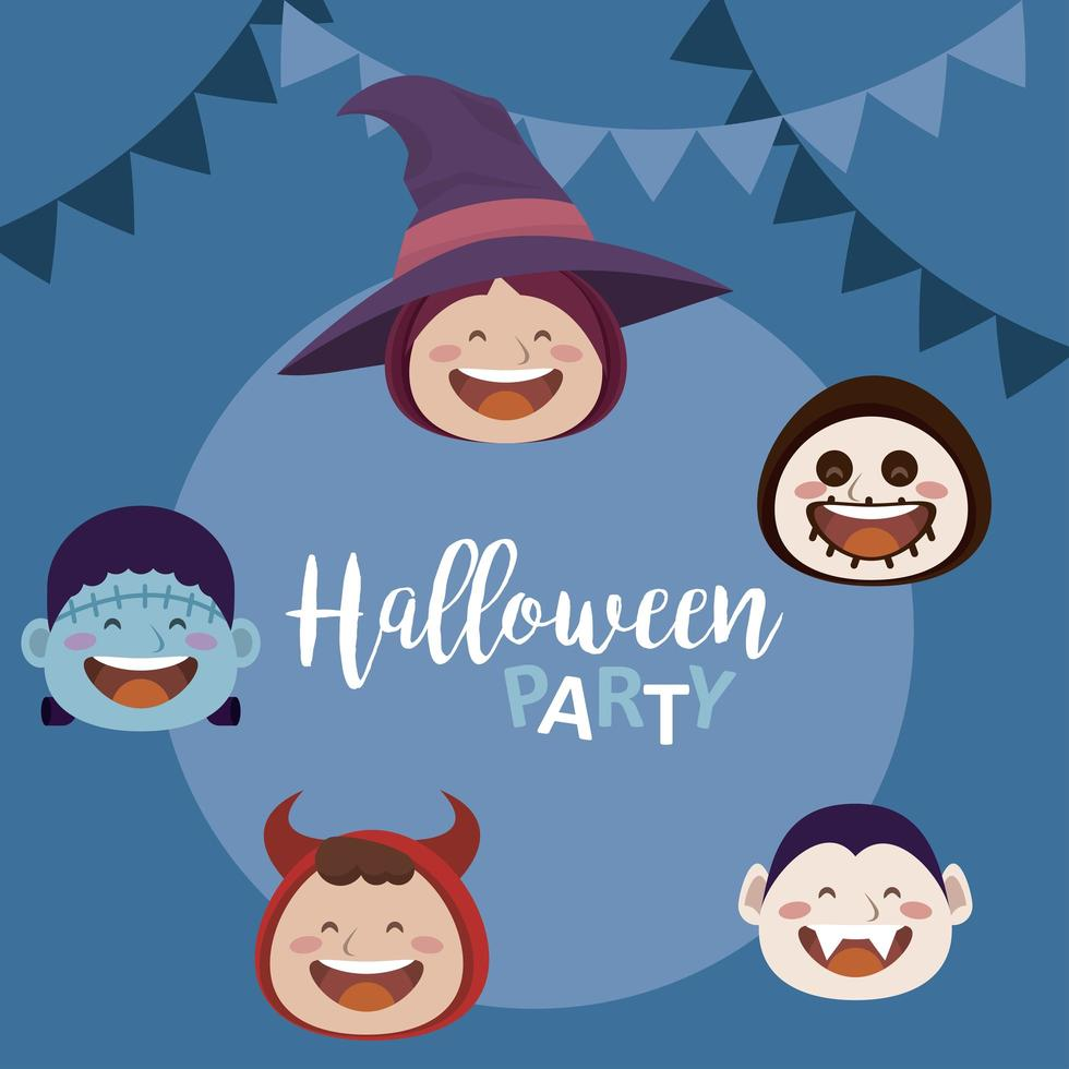 happy halloween party with heads of kids in costumes and garlands vector