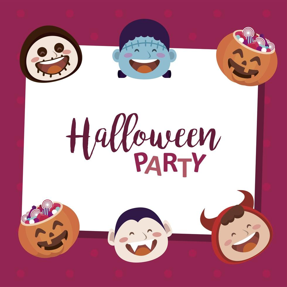 happy halloween party with lettering and monsters heads characters vector