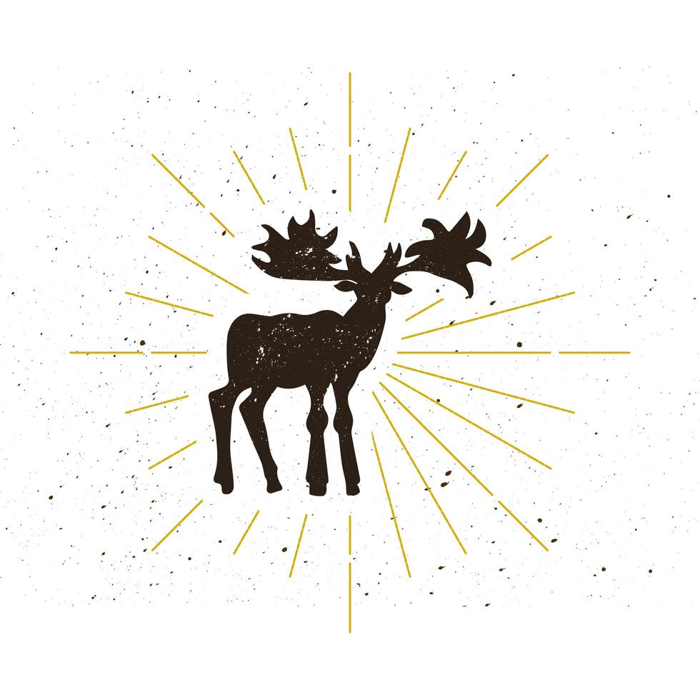 logotipo de silueta de alce retro vector