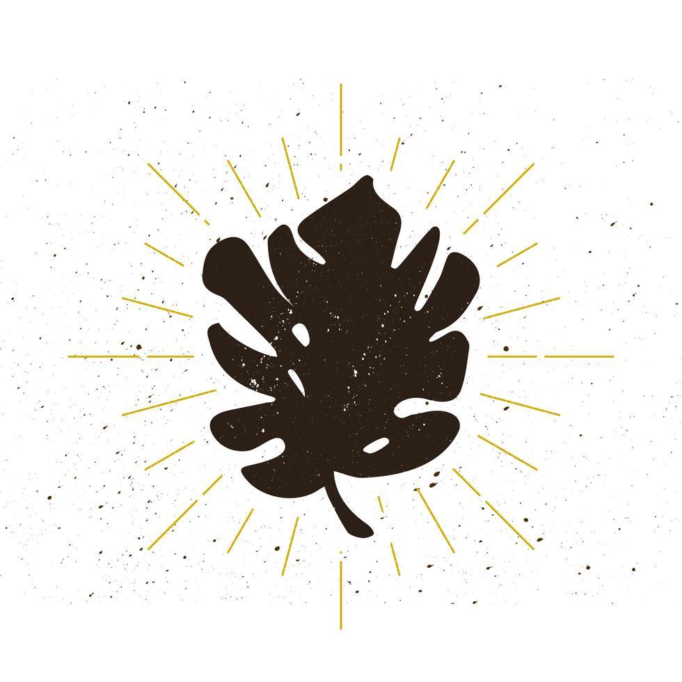 logotipo de silueta de hoja tropical retro vector