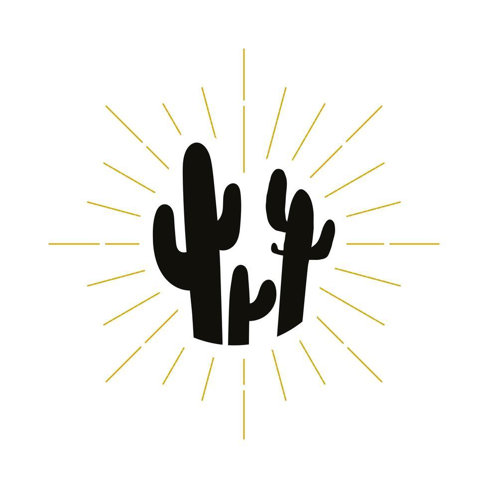 logo de silueta de cactus retro vector