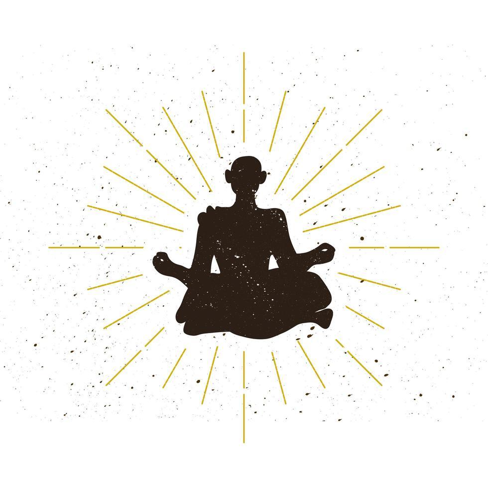 logotipo de silueta de ermitaño retro vector
